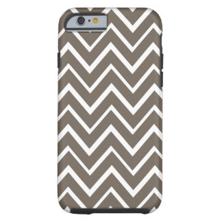 Brown grey whimsical zigzag chevron pattern tough iPhone 6 case