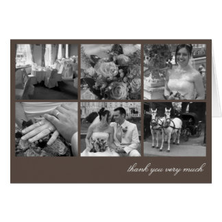 Brown grid collage 6 photos memories thank you card