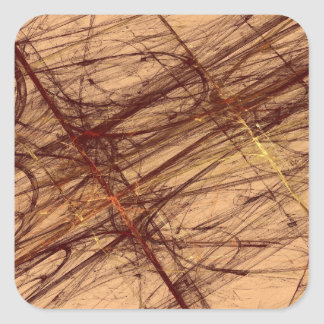 Brown Grunge Abstract Fractal Square Sticker
