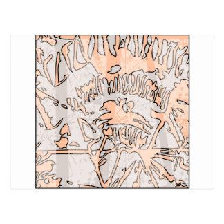 brown grunge abstract geometric pattern postcard