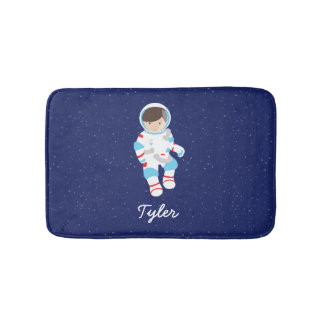 Brown Hair Astronaut in Space Bath Mat