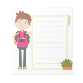 Brown Hair Blue Eye Boy Cartoon Notepad with Lines