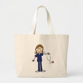 Brown Hair Blue Uniform Female Stick Figure Nurse Large Tote Bag