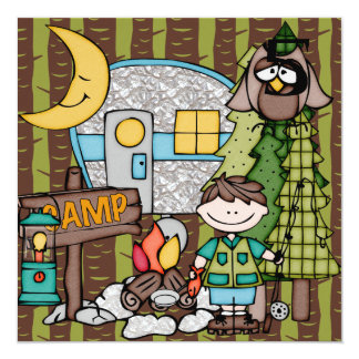 Brown Hair Boy Camping Birthday Invitations