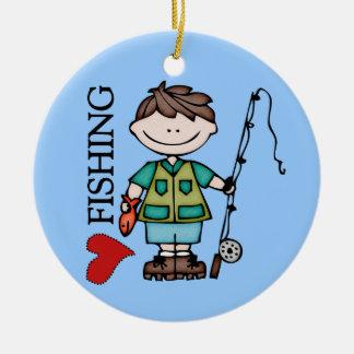 Brown Hair Boy I Love Fishing Ceramic Ornament