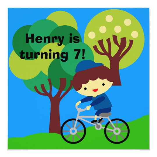 Brown Hair Boy on Bicycle Birthday Invitation