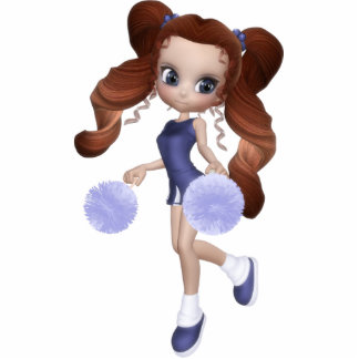 Brown Hair Cheerleader Magnet Standing Photo Sculpture