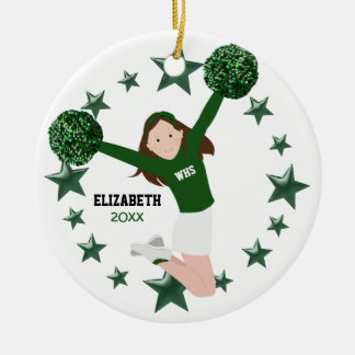 Brown Hair Cheerleader Pom Poms Green & White Ceramic Ornament