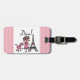 Brown Hair Diva Luggage Tags