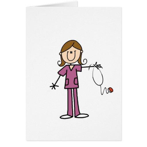 Brown Hair Female Stick Figure Nurse Cards