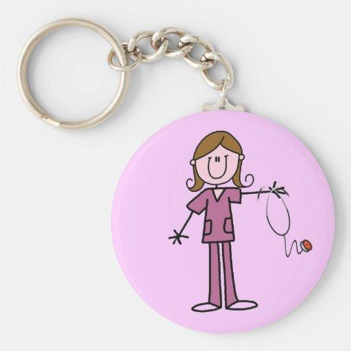Brown Hair Female Stick Figure Nurse Keychains