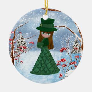 Brown Hair Girl, Christmas, Snow Ceramic Ornament