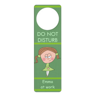 Brown Hair Girl Funny Green Door Hangers