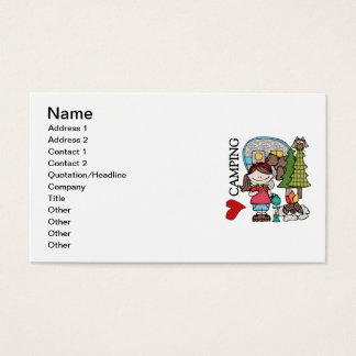 Brown Hair Girl I Love Camping Business Card