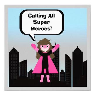 Brown Hair Girl Super Hero Birthday Invitation