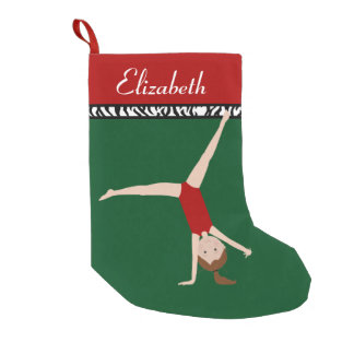 Brown Hair Gymnast Personalized Christmas Small Christmas Stocking
