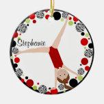 Brown Hair Gymnast Red, Black & Green Personalised