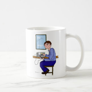 Brown Hair Male Ham Radio Operator Coffee Mug