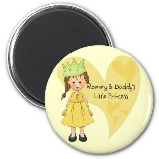 Brown Hair Mommy and Daddy's Princess 6 Cm Round Magnet