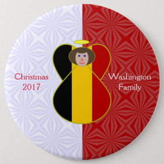 Brown-haired Belgian Flag Angel Red White 6 Cm Round Badge