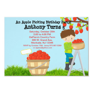 Brown Haired Boy Apple Picking Birthday Party Card