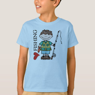 Brown Haired Boy I Love Fishing T-Shirt