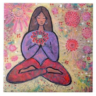 Brown Haired Yoga Girl Tile