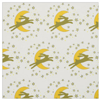 Brown Hare and Crescent Moon in a Starry Sky Fabric
