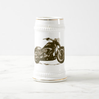 Brown Harley Motorcycle Beer Stein