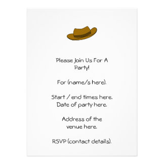 Brown hat illustration On White Personalized Invitation