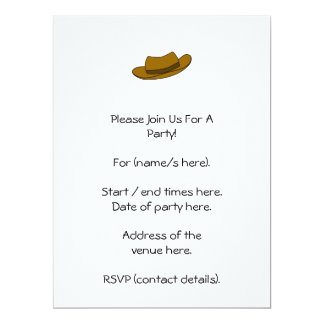Brown hat illustration. On White. 6.5x8.75 Paper Invitation Card