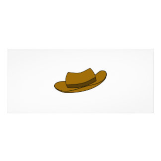 Brown hat illustration. On White. Rack Card