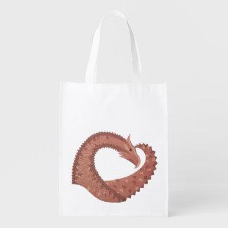 Brown heart dragon on white reusable grocery bag