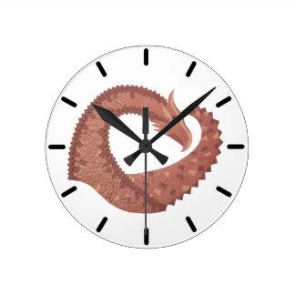 Brown heart dragon on white round clock