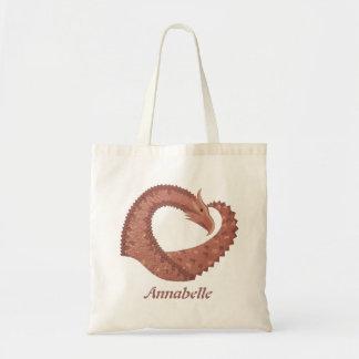 Brown heart dragon on white tote bag