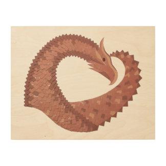 Brown heart dragon on white wood wall art
