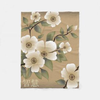 "Brown heart white blossom beige ""Courage"" Fleece Blanket"