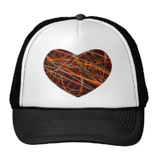 Brown Heart with Red, Black, White, & Orange Lines Trucker Hat