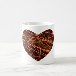 Brown Heart with Red, Black, White, & Orange Lines Coffee Mug