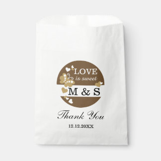 Brown Hearts And Butterflies|Monogram Party Favors Favour Bags