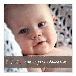 Brown Hello Heart Baby Birth Announcement