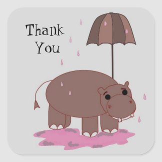 Brown Hippo Thank You Square Sticker