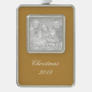 Brown Honey Solid Color Silver Plated Framed Ornament