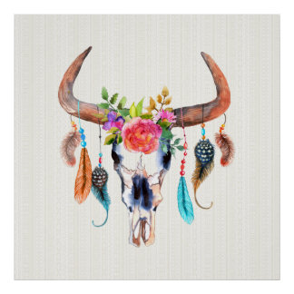 Brown Horns And Colorful Feathers On Bull Skull Poster