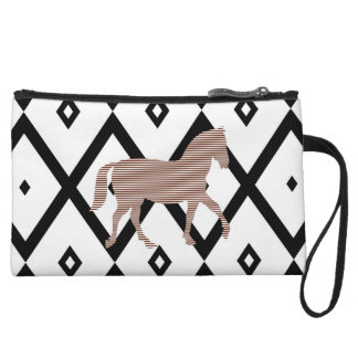 Brown horse - Abstract geometric pattern - black. Wristlet