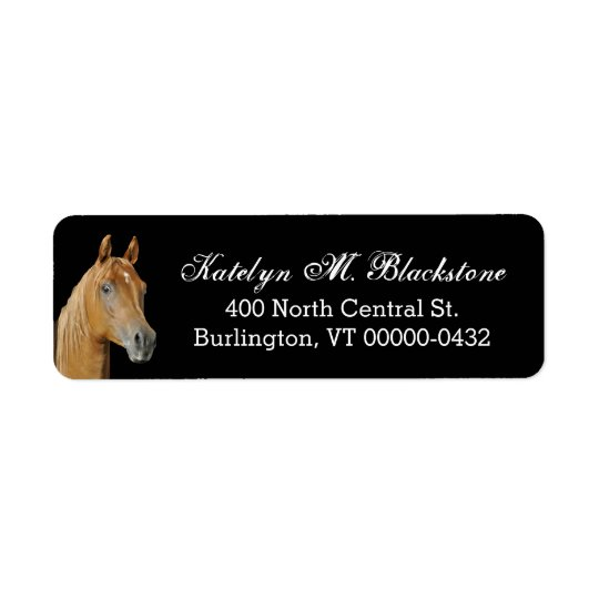 Brown Horse Custom Black Return Address Labels