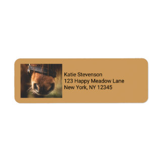 Brown Horse Nose Photo Cute and Rustic Return Address Label
