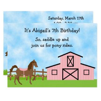 Brown Horse, Pink Barn Pony Rides Birthday Invite