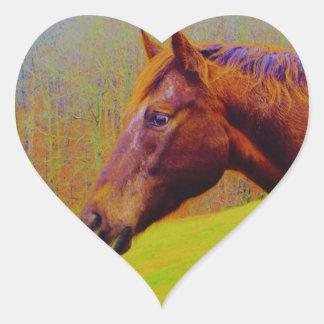 Brown Horse & Rainbow Forest Heart Sticker