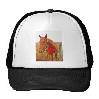 Brown horse Red Bow Mesh Hats